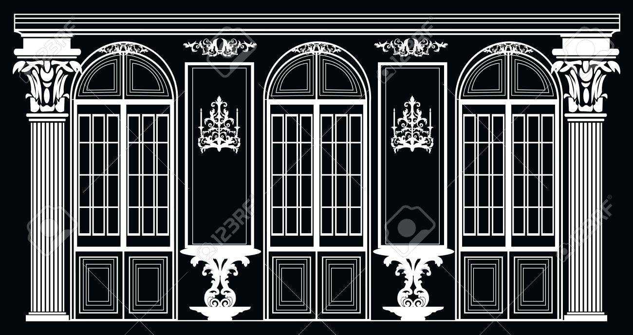 Vector architectural facade wire frame blueprint drawing of wire frame blueprint drawing of classic luxury building vector architectural template malvernweather Image collections