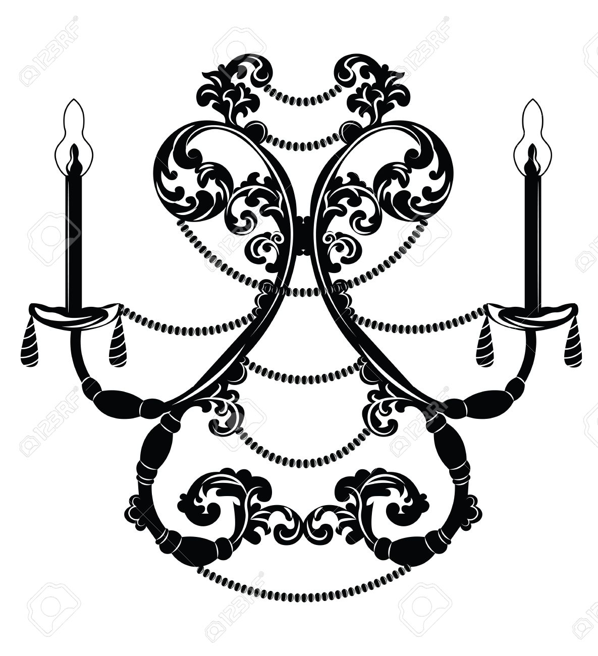 baroque elegant wall lamp with ornaments vector elegant royal rh 123rf com vector ornaments for co2 laser vector ornaments word