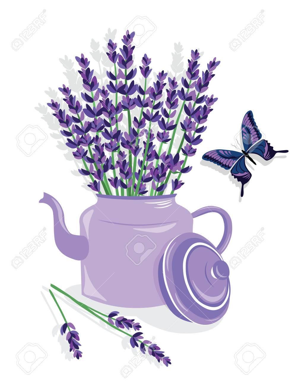 Aquarell-Illustration Lavendel Blumen In Einem Topf. Französisch ...