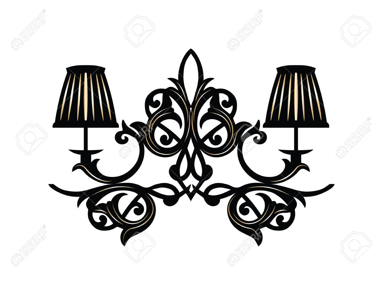 baroque elegant wall lamp with ornaments vector elegant royal rh 123rf com vector ornaments border vector ornaments for co2 laser