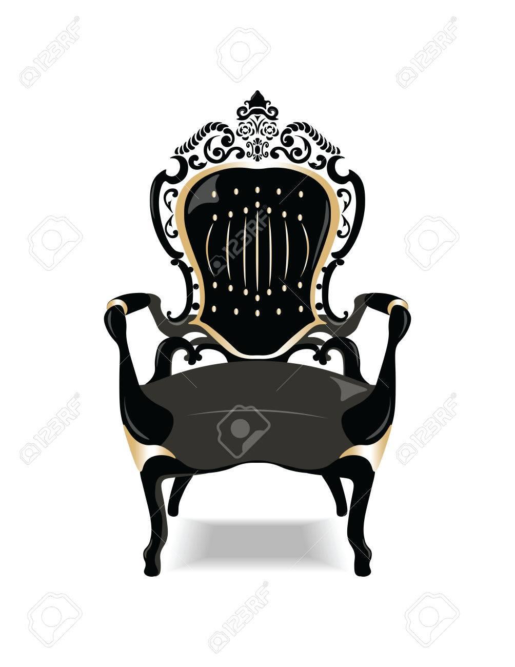 Vector   Vintage Baroque Golden Chair Furniture. Vector Sketch