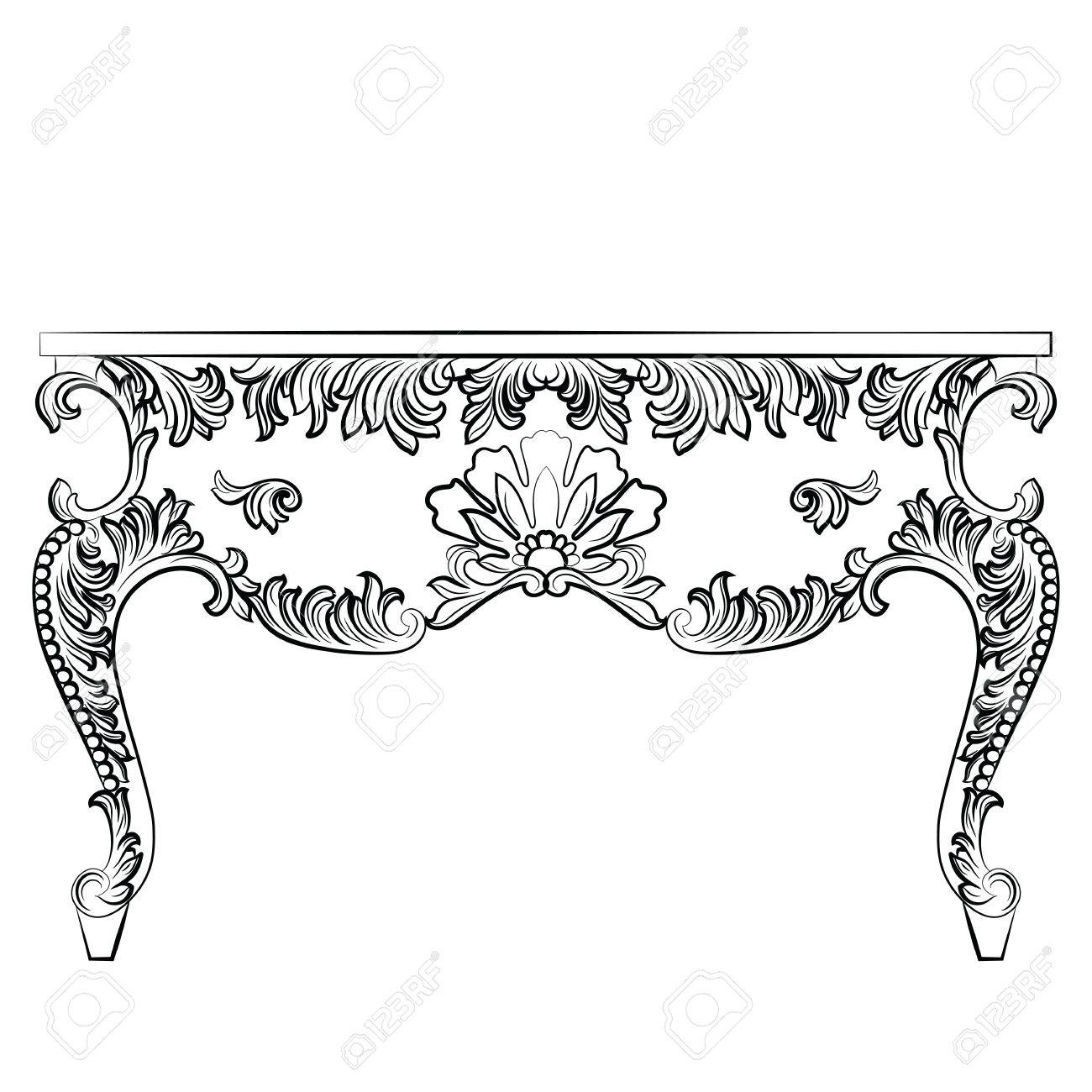 Rich Baroque Table French Luxury Rich Carved Ornaments Furniture  # Meuble Royal Decorations