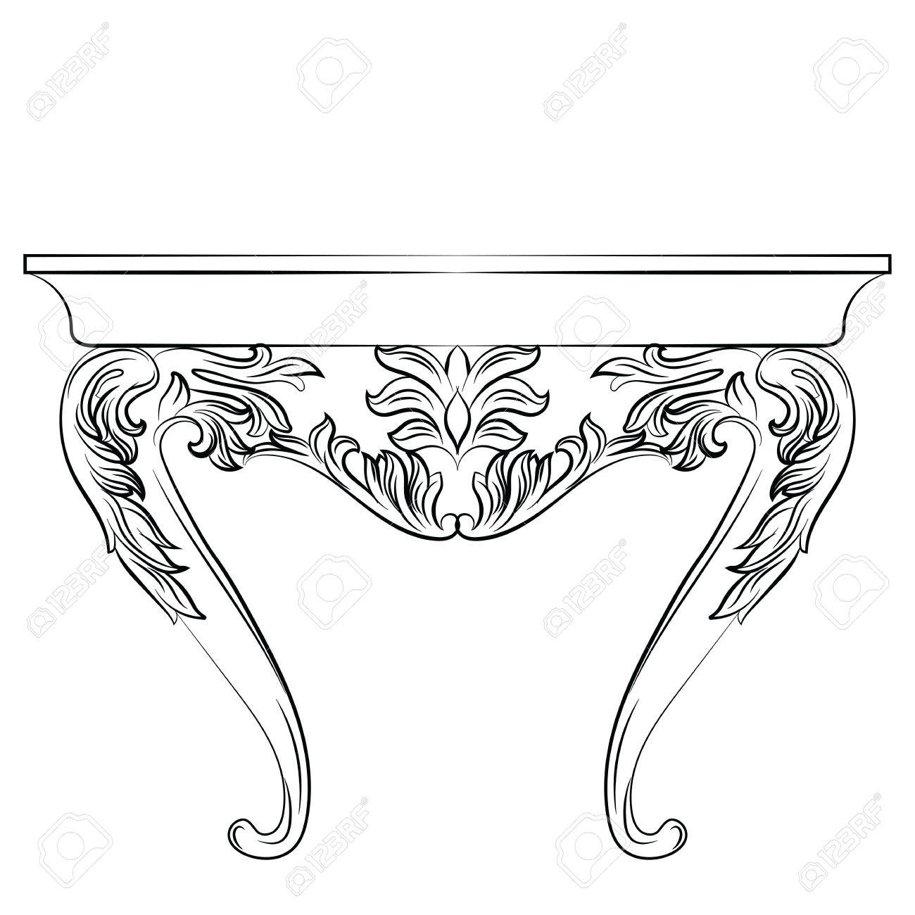 Rich Baroque Commode Table. French Luxury Rich Carved Ornaments Decorated  Furniture. Vector Victorian Royal