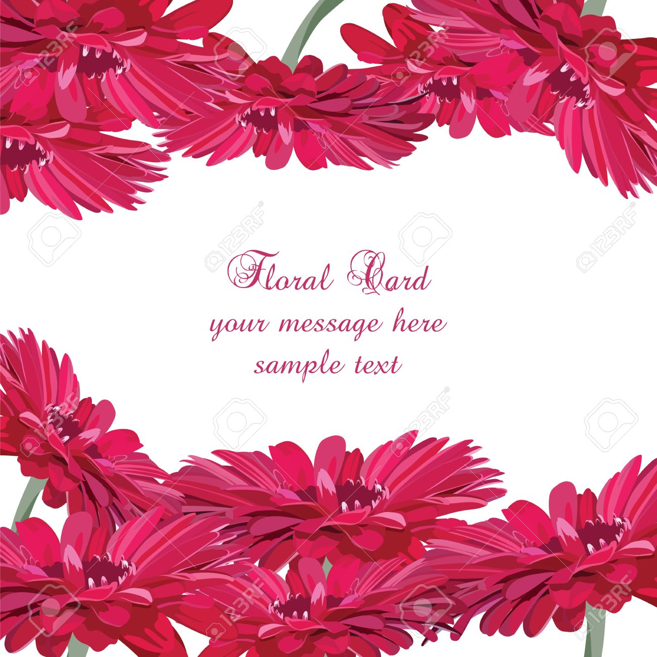 Gerbera Pink Flower Card Vector Floral Background For Greetings