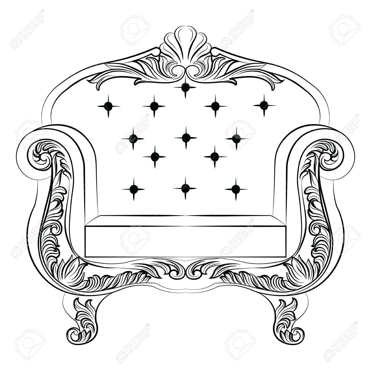 Barock Luxus Stil Sessel Möbel. Polsterung Mit Luxuriösen Reichen  Verzierungen. Französisch Luxus Reich