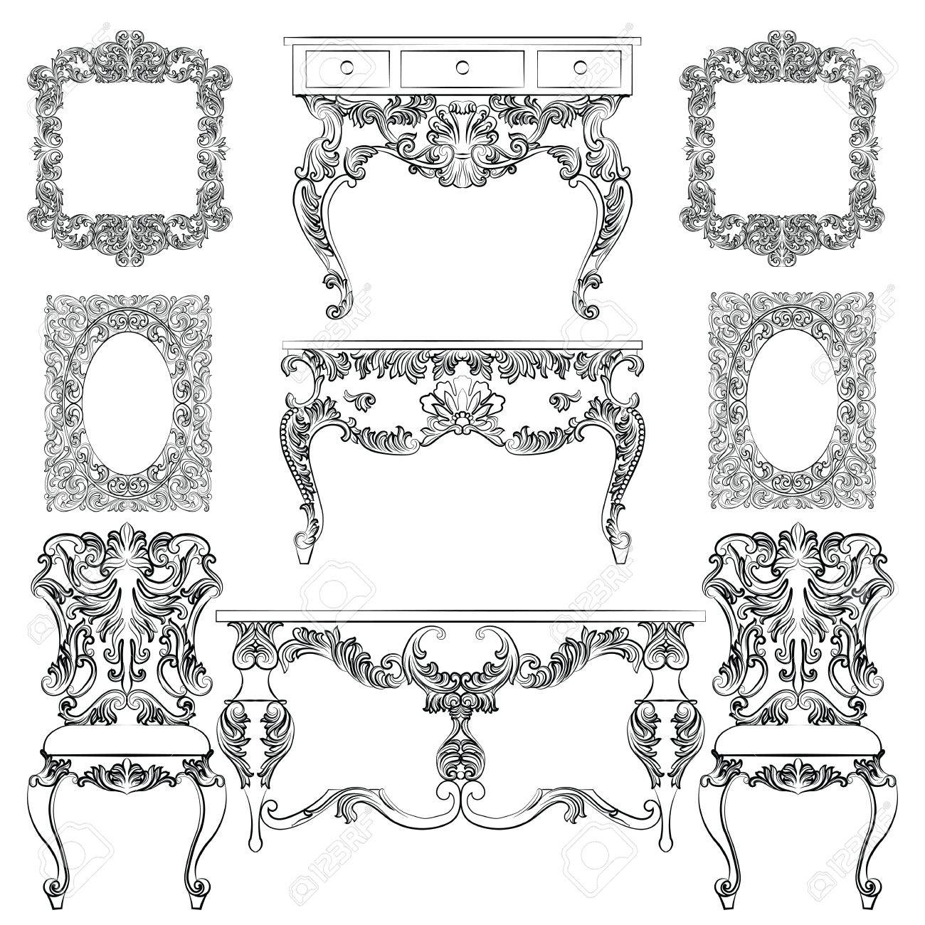 Vector   Vector Collection Of Baroque Style Furniture. Vintage Vector Set  Of Antique Royal Furniture. Different Rich Detailed Ornamented Elements