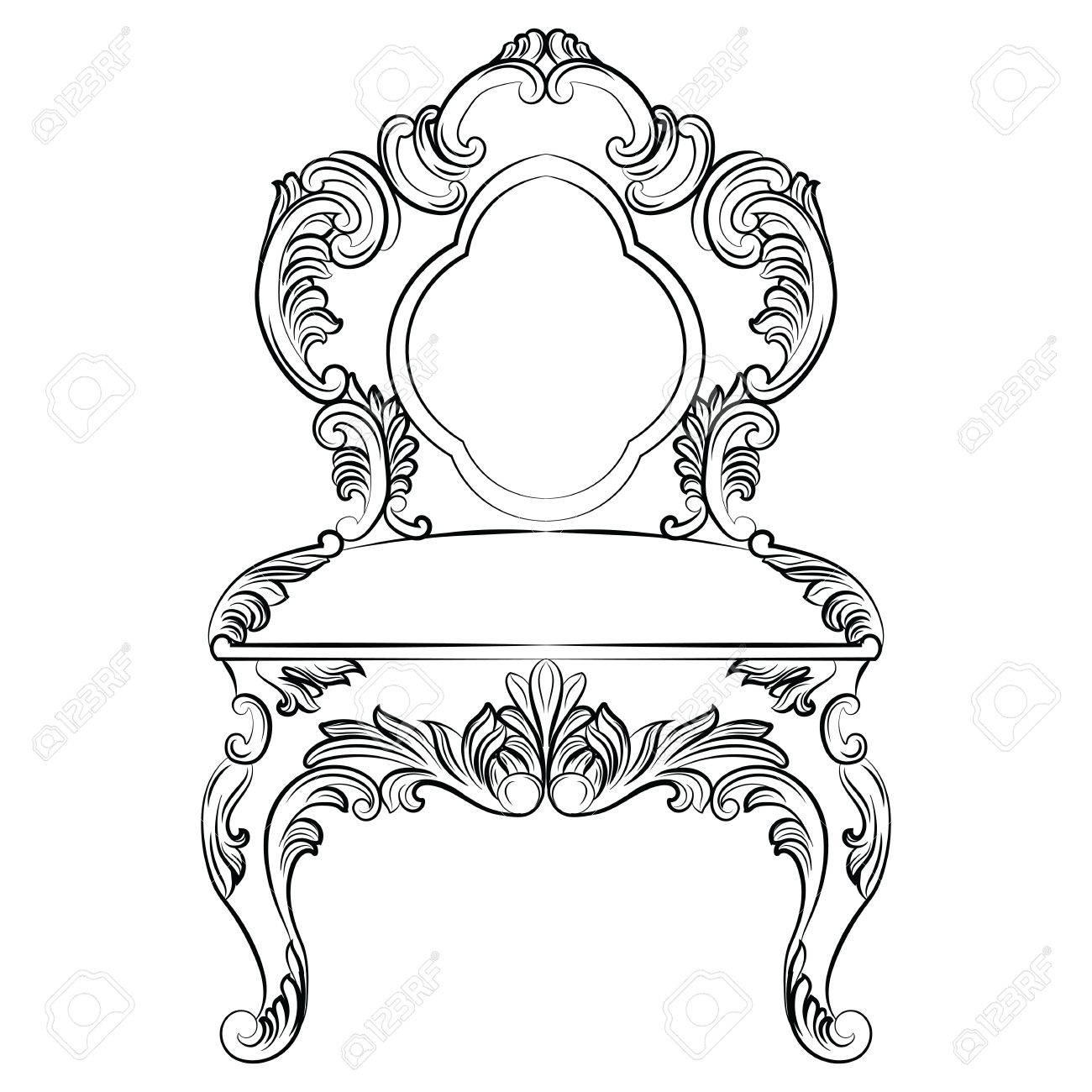 Vector Viktorianischen Exquisiten Stil Möbel. Barock Luxus Stil Stuhl.  Elegante Möblierung Mit Luxuus Reichen Verzierungen. Französisch Luxus Reich