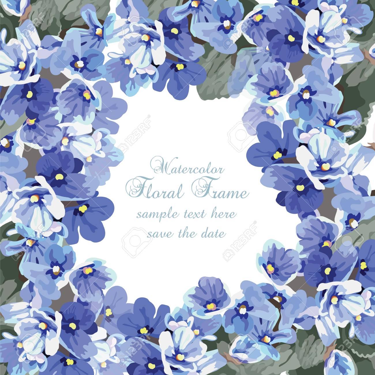Beau Fond De Carte Aquarelle Fleurs Bleues Vecteur Illustration De