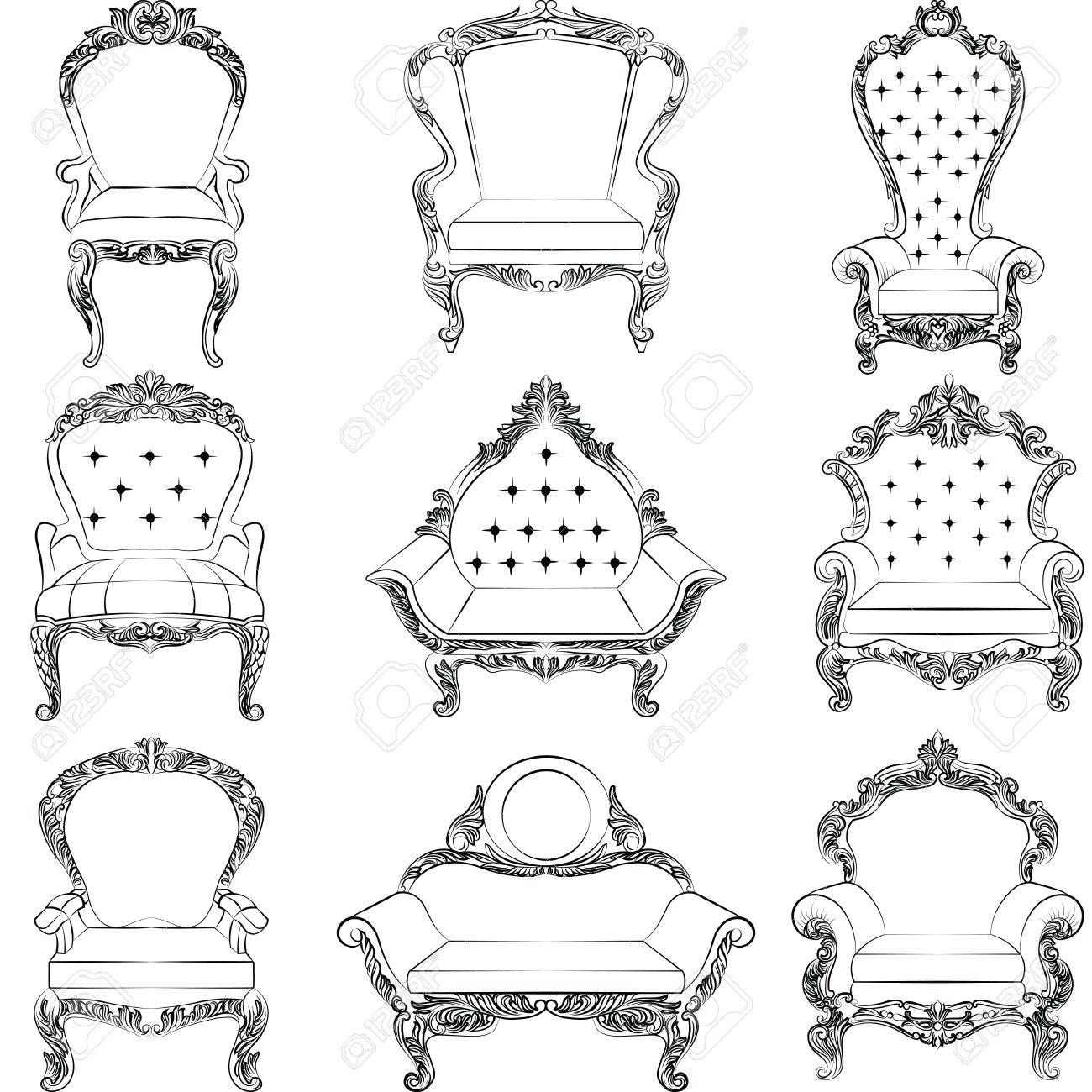 Barock Sessel Möbel Set Sammlung Luxus Stil. Polsterung Mit Luxuriösen  Reichen Verzierungen