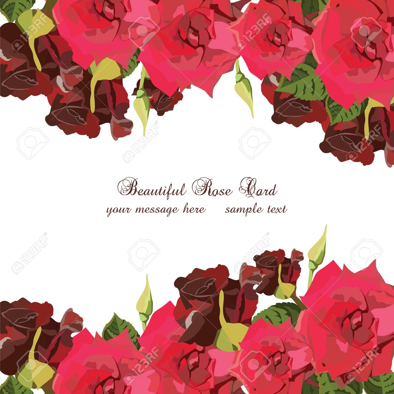 Watercolor Red Roses Card Vector Vintage Floral Border For Greeting