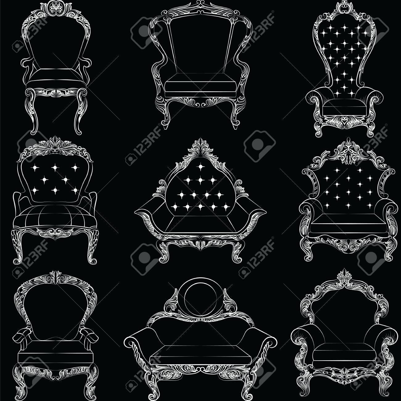 Barock Sessel Möbel Set Sammlung Luxus Stil. Polsterung Mit Luxuus Reichen  Verzierungen