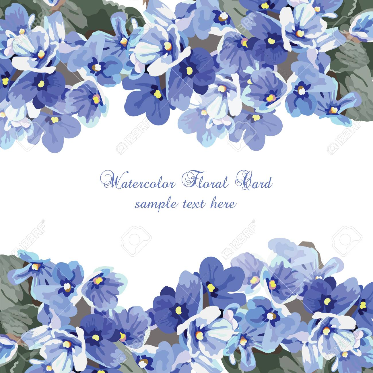 Beautiful Watercolor Blue Flowers Card Background Vector Vintage