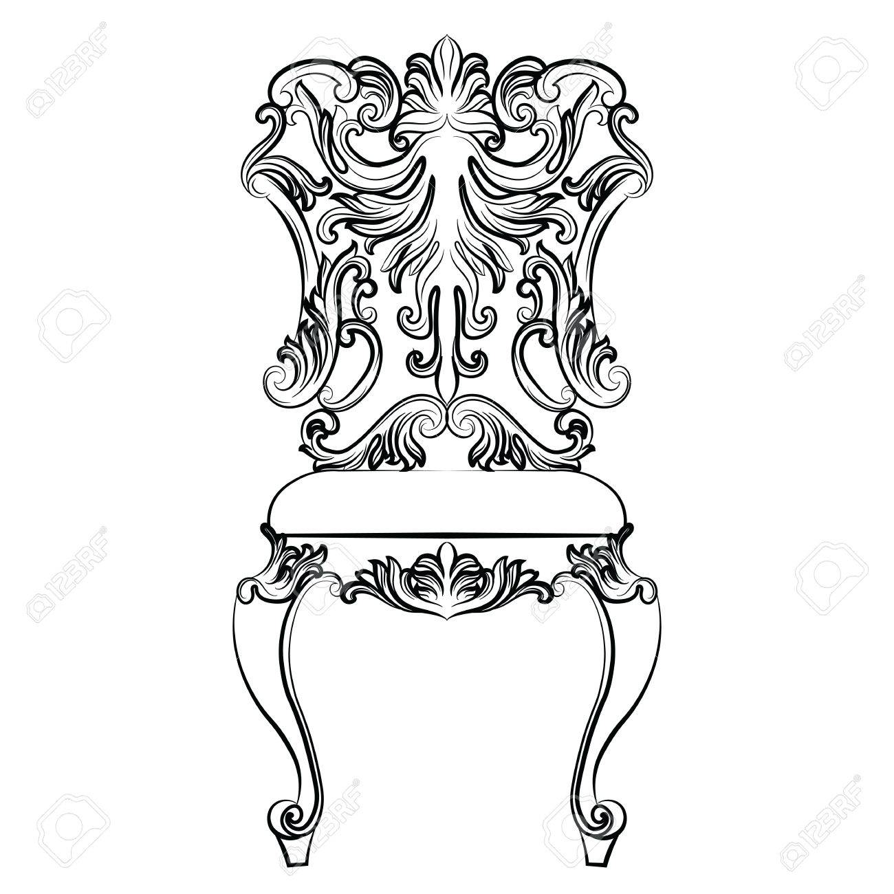 Rococo furniture sketch - Fabulous Rich Baroque Rococo Chair French Luxury Rich Carved Ornaments Furniture Vector Victorian Exquisite