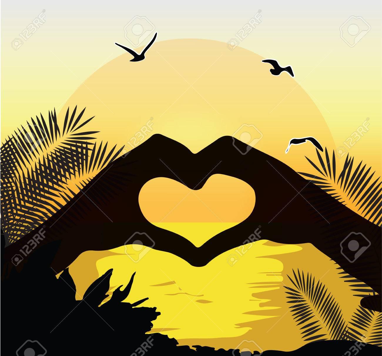 Paar Küssen Silhouette Sonnenuntergang Am Strand Romantischen Moment Gelben  Himmel Palme Vektor Lizenzfrei Nutzbare Vektorgrafiken, Clip Arts,  Illustrationen. Image 55601895.