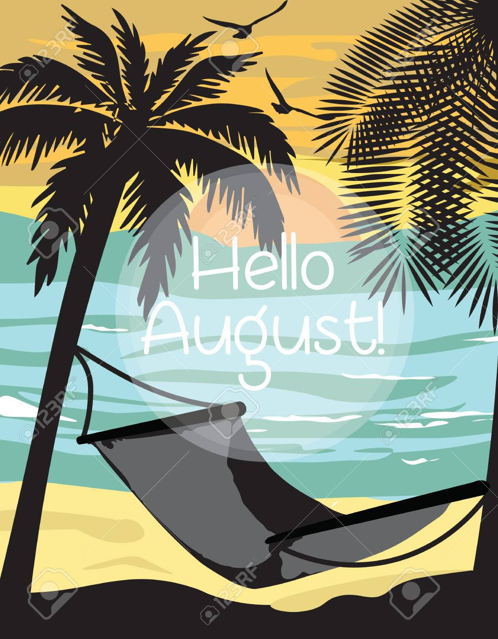 Summer Beach With Hammock And Palm Trees Card. Hello August Text. Vector  Holiday Summer