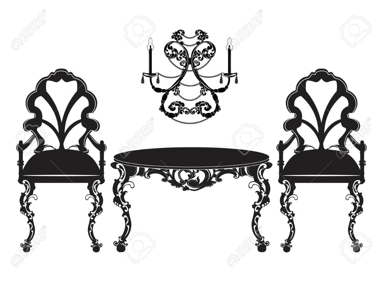 Vector   Vintage Baroque Luxury Ornamented Furniture Set. Baroque Style  Chairs And Table. Vector Sketch