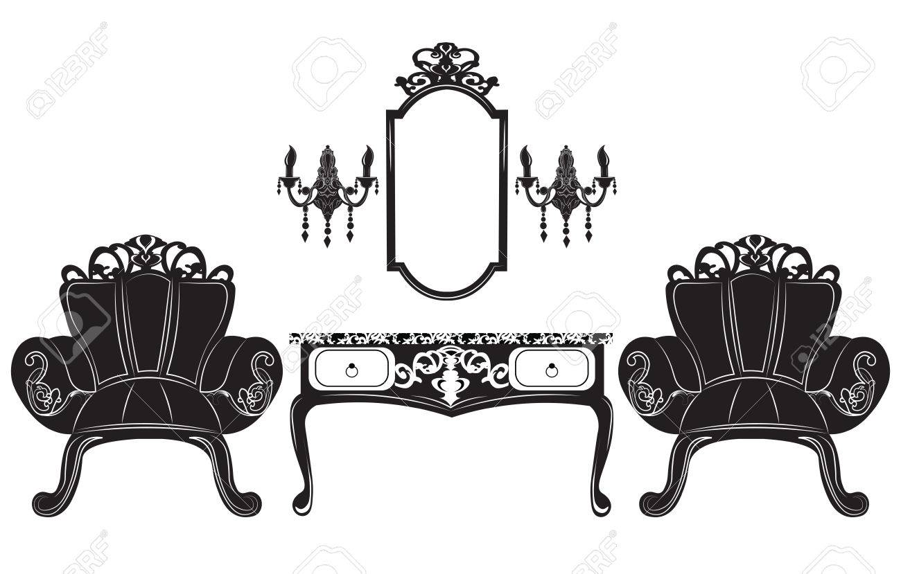 Elegant Baroque Luxury Ornamented Furniture Set. Baroque Style Armchairs  And Table. Mirror Frame Decor
