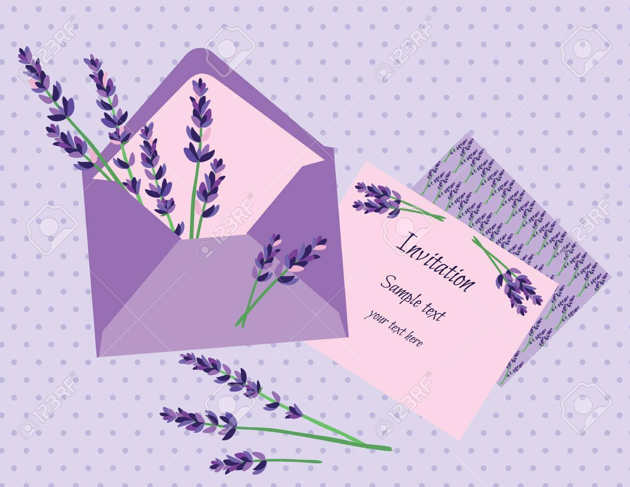 Purple lavender invitation card vector wedding invitation letter purple lavender invitation card vector wedding invitation letter with lavender flower vintage background stock stopboris Gallery