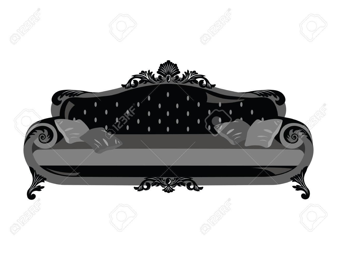 Vintage Sofa Vector Reiche Geschnitzten Ornamenten Mobel Vector