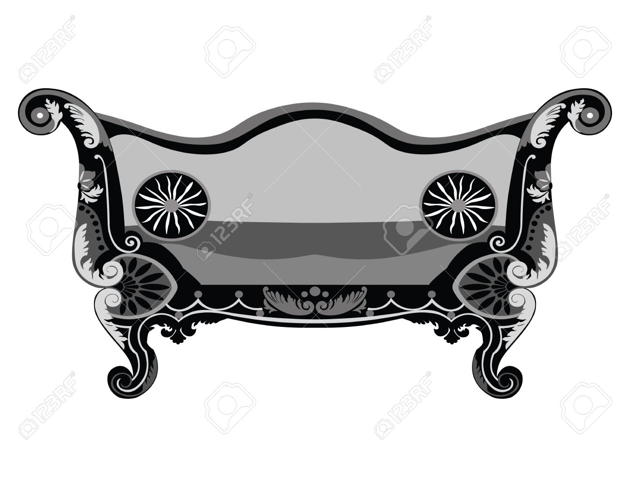 Vintage Sofa Vector Rich Carved Ornaments Furniture Vector