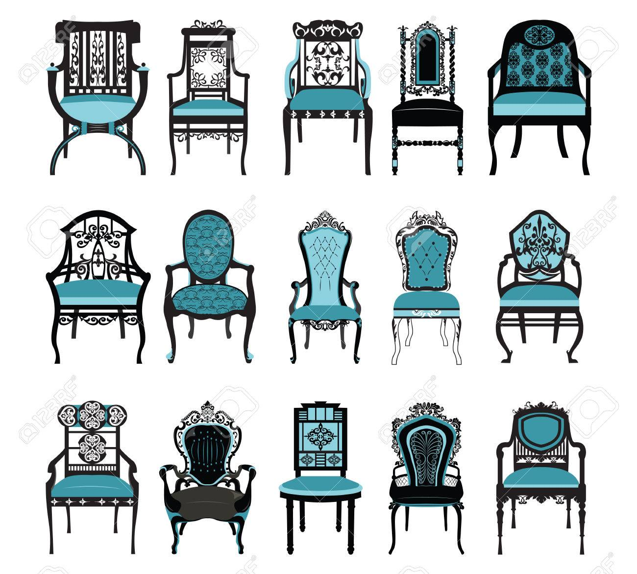 Vector   Vintage Chair Furniture Set Collection Vector. Rich Carved  Ornaments Furniture. Vector Victorian Style Furniture. Royal Blue Color  Sketch