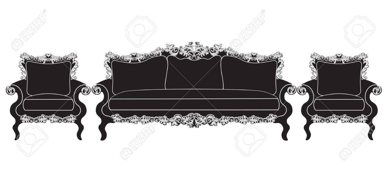 Muebles Tapizados De La Vendimia Vector Conjunto. Rica Colección De ...