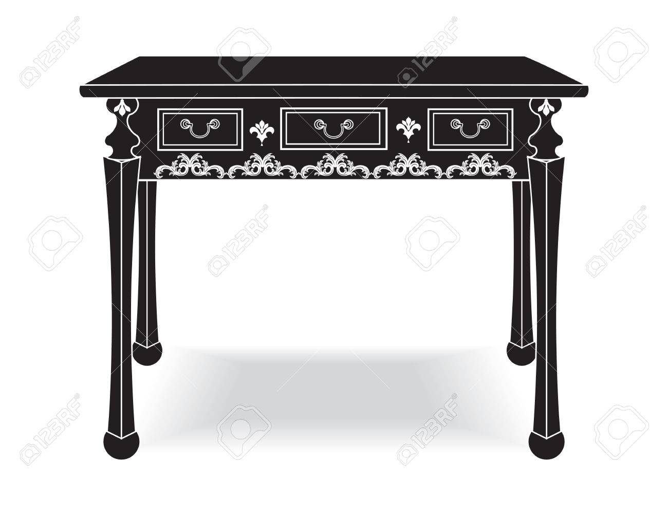 Biedermeier Style Table With Rich Ornaments. English Carved Ornaments  Furniture. Vector Vintage Exquisite Style