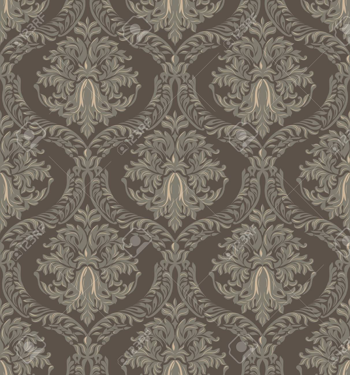 Damask 8x10 FT Photo Backdrops,Ornamental Symmetric Antique Motif with Classical Elements Baroque Swirls Curves Background for Party Home Decor Outdoorsy Theme Vinyl Shoot Props Cream Sepia