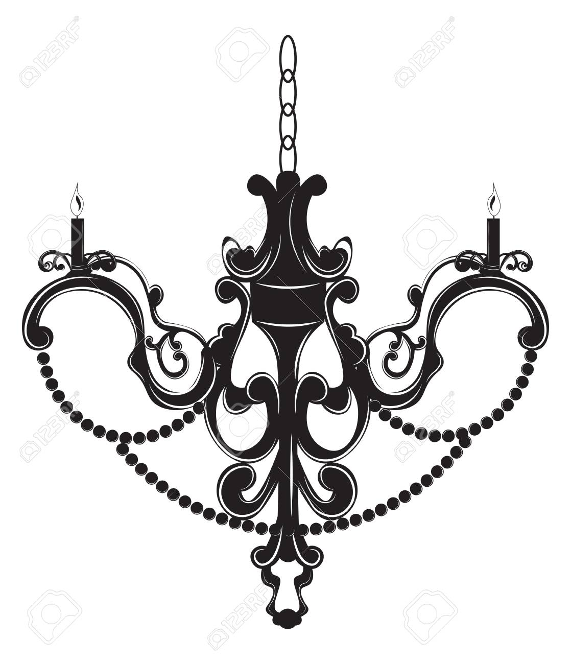 Classic baroque chandelier on white background luxury decor classic baroque chandelier on white background luxury decor accessory design vector illustration sketch stock aloadofball Image collections