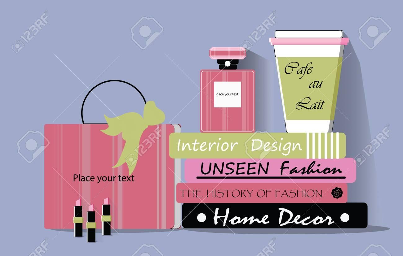 Einkaufstasche, Kaffee, Parfüm Und Zeitschriften Vector. Saisonale ...