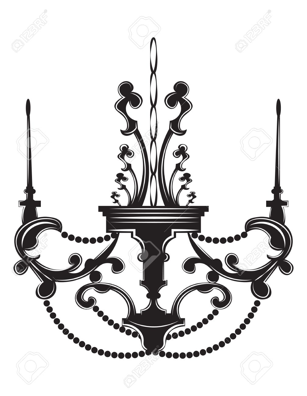 Baroque Elegant Lamp Vintage Ornamented Vector Luxury Royal Style Decor Classic Chandelier Illustration