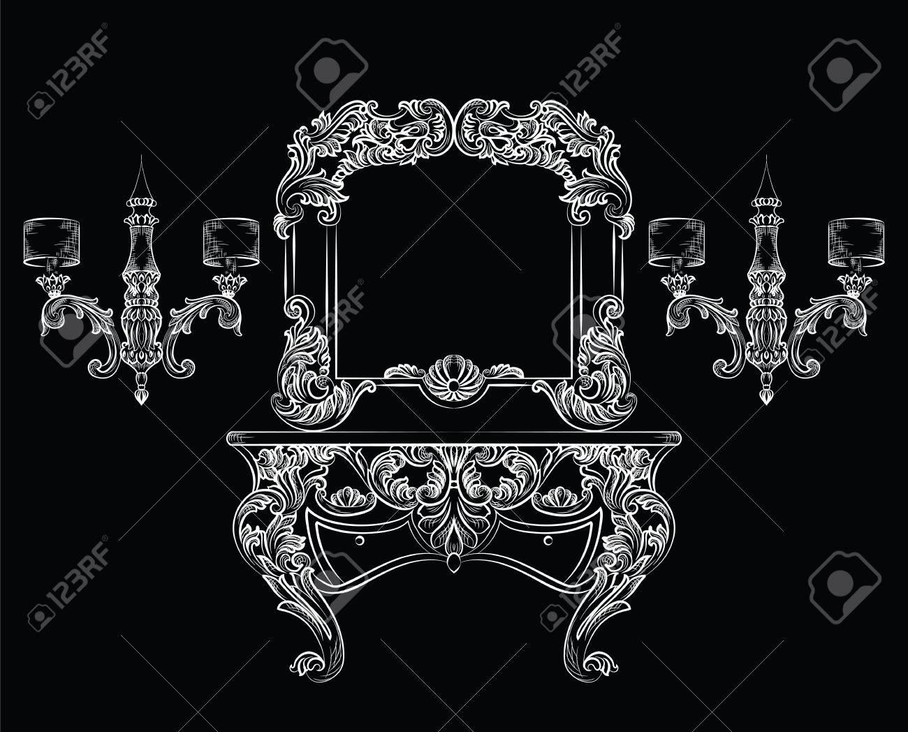 Standard Bild   Vector Barock Frisierkommode Und Spiegelrahmen Möbel.  Französisch Luxus Reich Geschnitzten Ornamenten. Victorian Royal Style  Dekoriert Set ...
