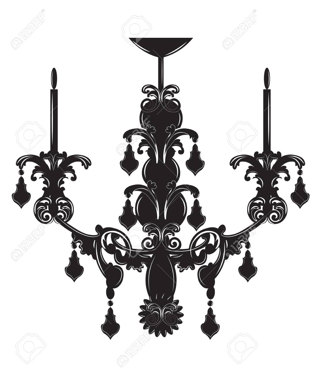 Classic baroque chandelier on white background luxury decor classic baroque chandelier on white background luxury decor accessory design vector illustration sketch stock aloadofball Images