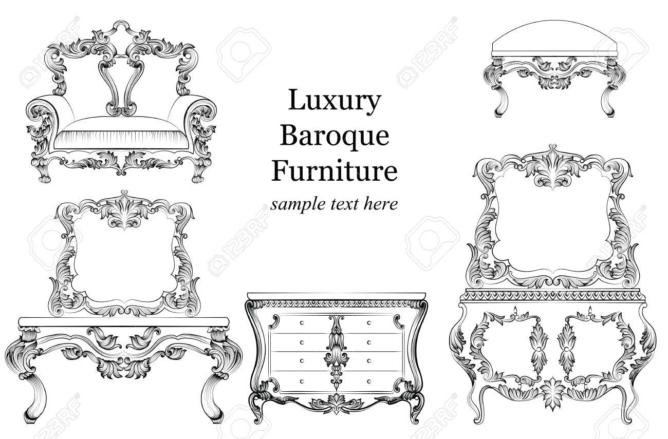 Französisch Geschnitzte Dekoration. Vektor Victorian Exquisit. Barocke  Luxus Stil Möbel Set Sammlung. Polster Mit Luxuriösen Reichen Verzierungen.