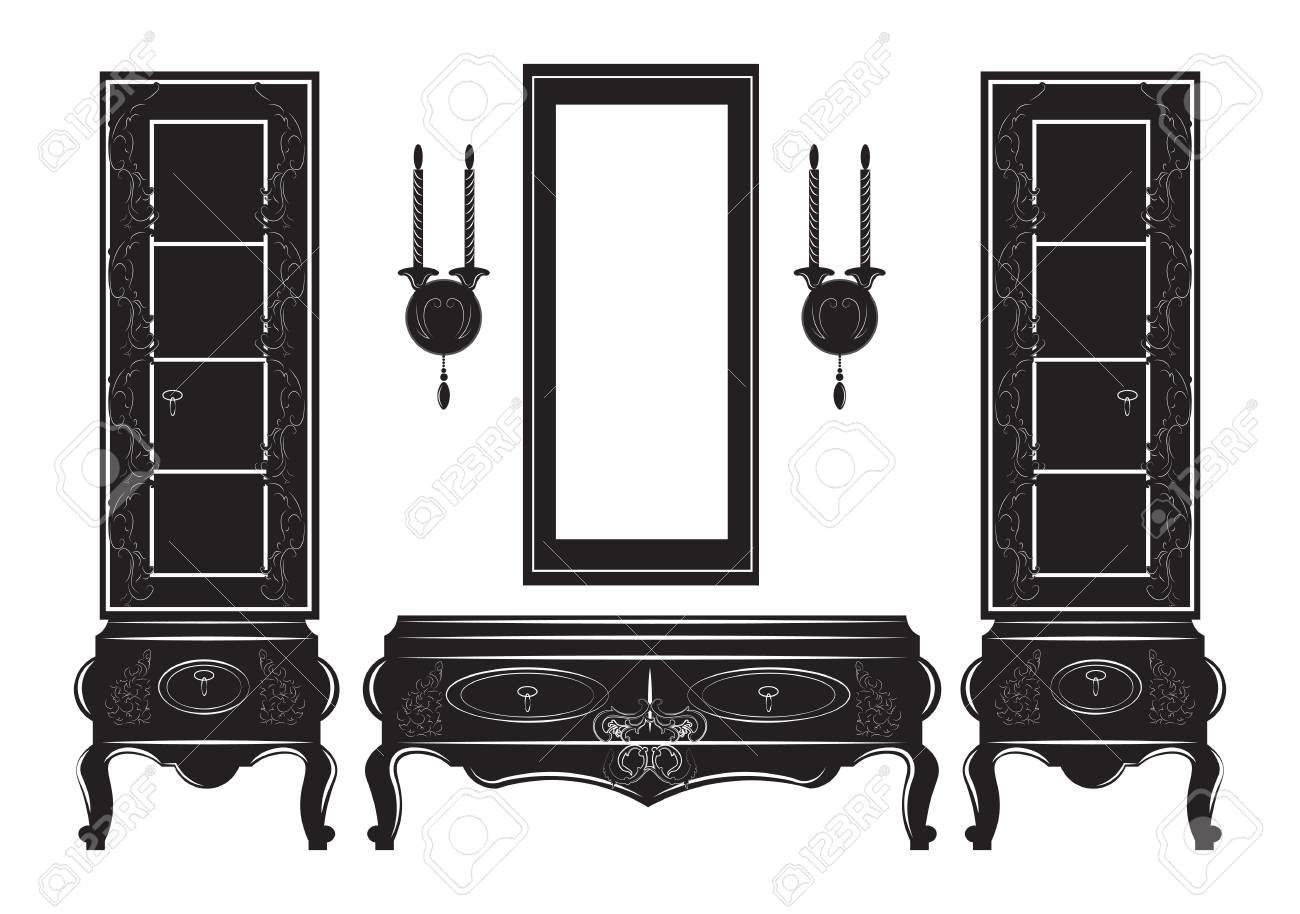 Vector   Vintage Sideboard Cabinet Showcase Silhouette. Vector Illustration  Isolated On White Background. Vintage Gothic Style Furniture.