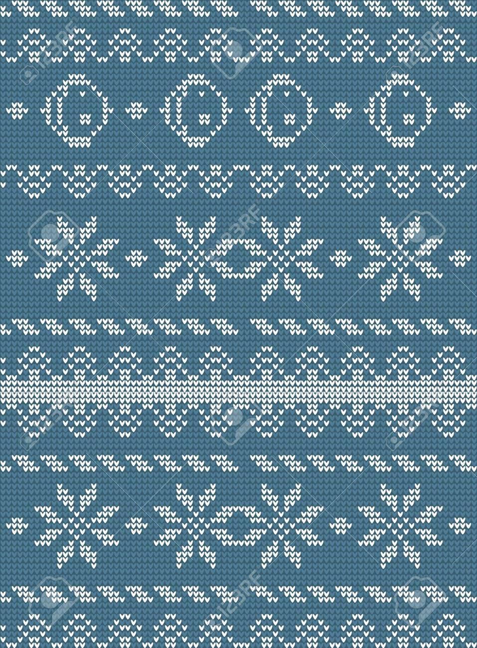 Christmas Winter Knitted Pattern. Snowflake Vintage Folk Ornament ...
