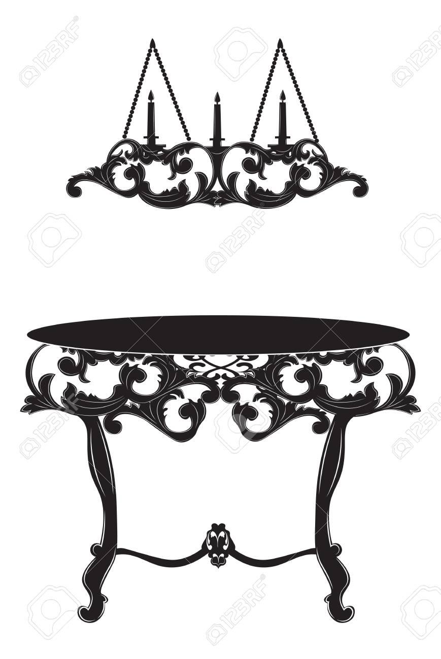 Rich Baroque Kommode Tisch Und Lampe. Französisch Luxus Reich Geschnitzten  Verzierungen Dekoriert Möbel. Vektor
