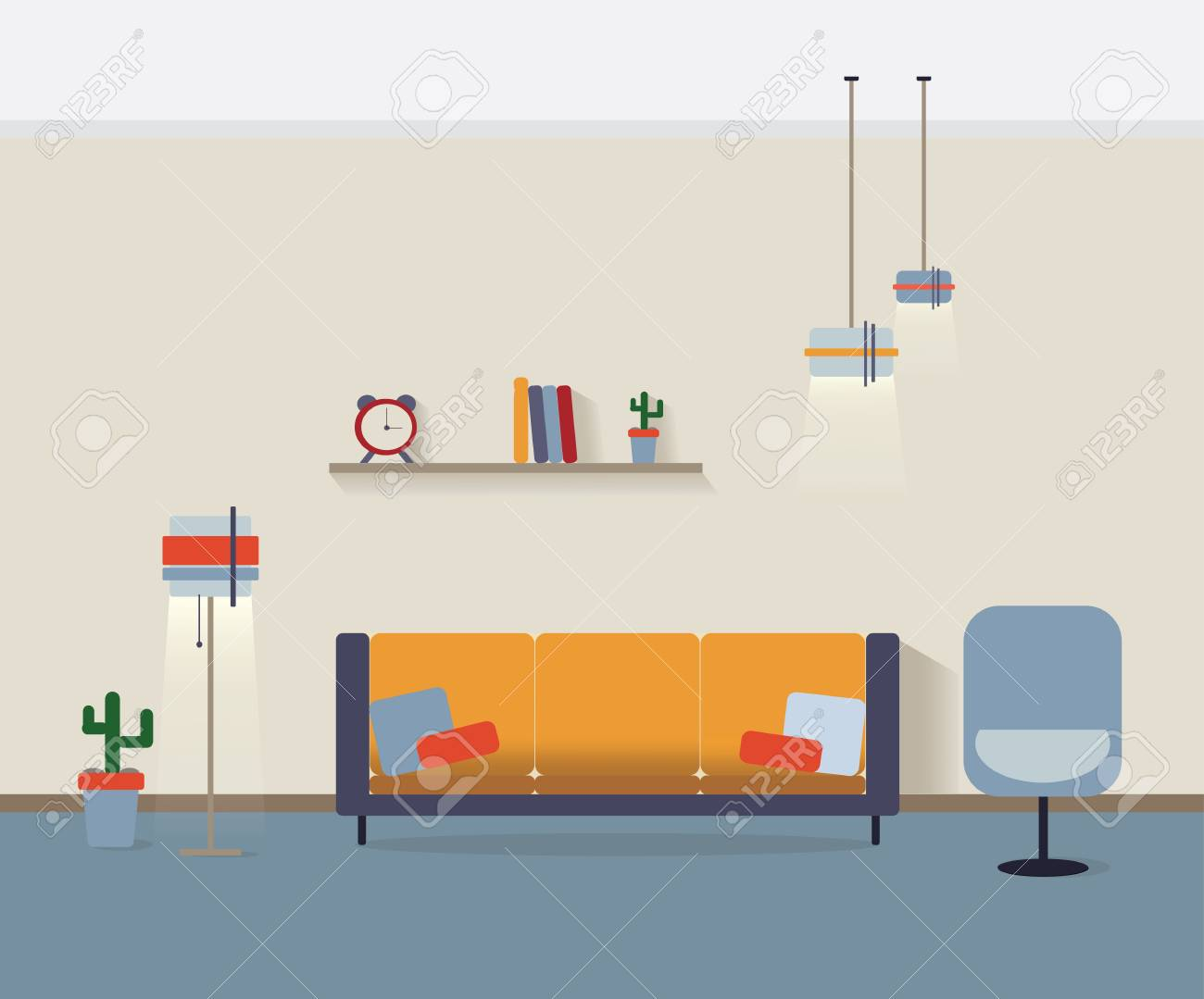 Modern Interior Vector Home Decoration Design Of A Living Room Royalty Free Cliparts Vectors And Stock Illustration Image 70840174