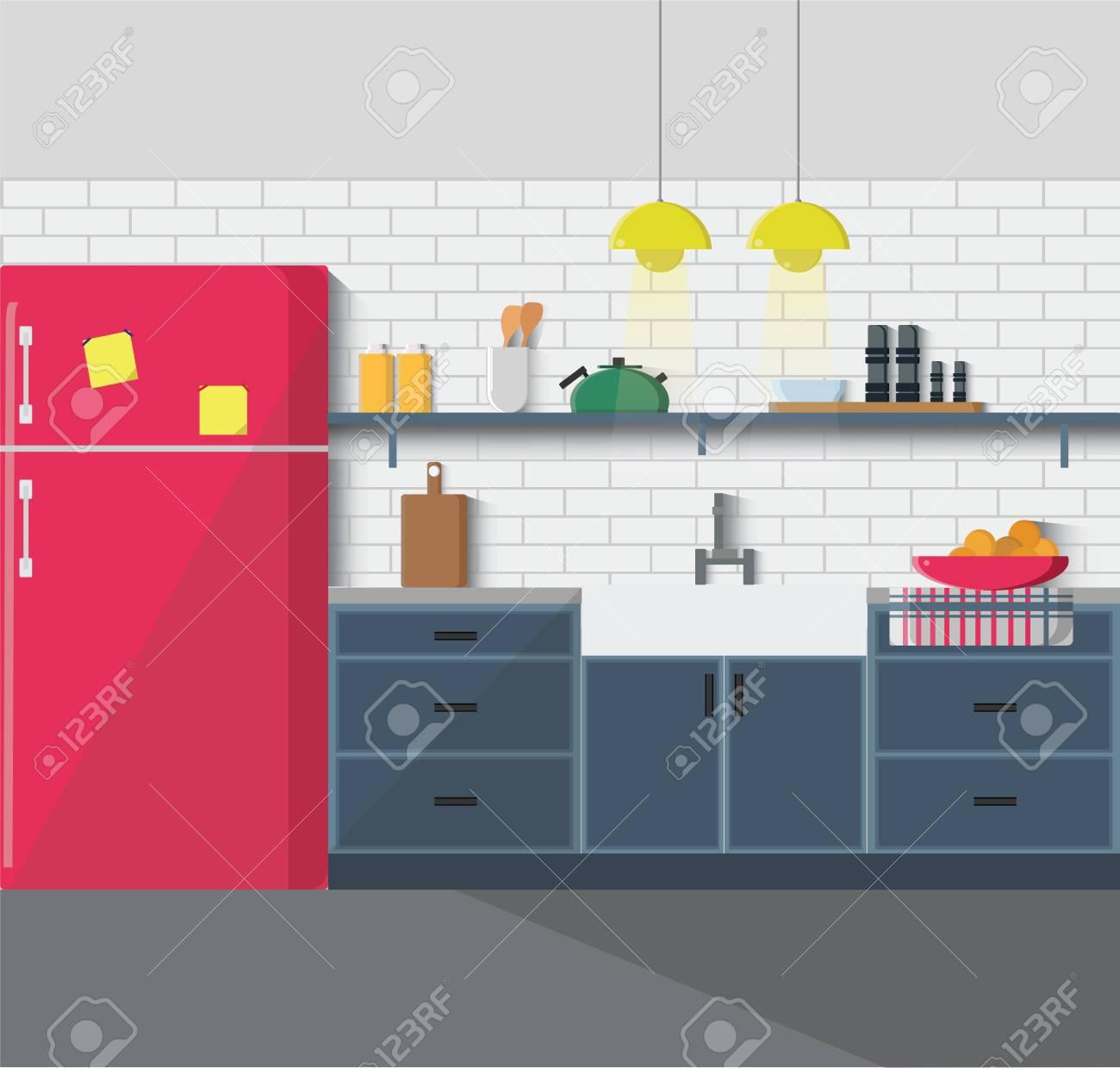 Küche Mit Möbeln. Gemütliche Küche Interieur Mit Tisch, Spüle ...