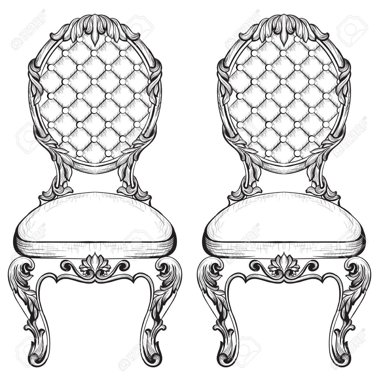 Exquisite Fabulous Imperial Baroque Chairs In Luxurious Fabric Ornament.  Vector French Luxury Rich Intricate Structure