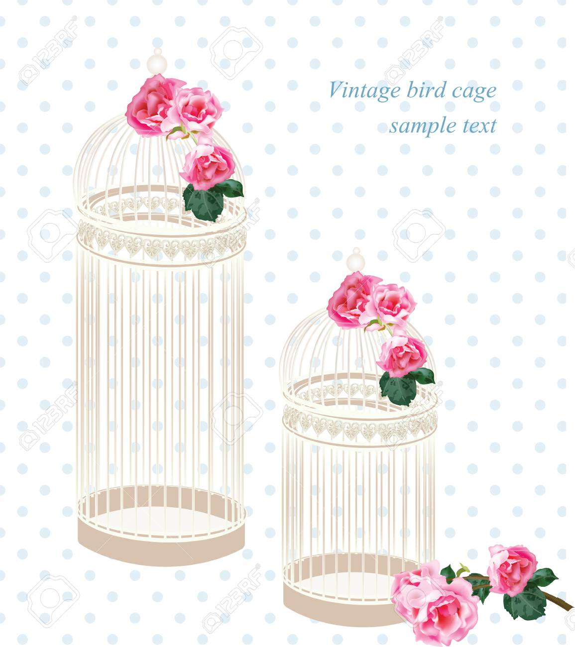 Vector Retro Style Floral Decorations For Wedding, Birthday,.. Stock ...