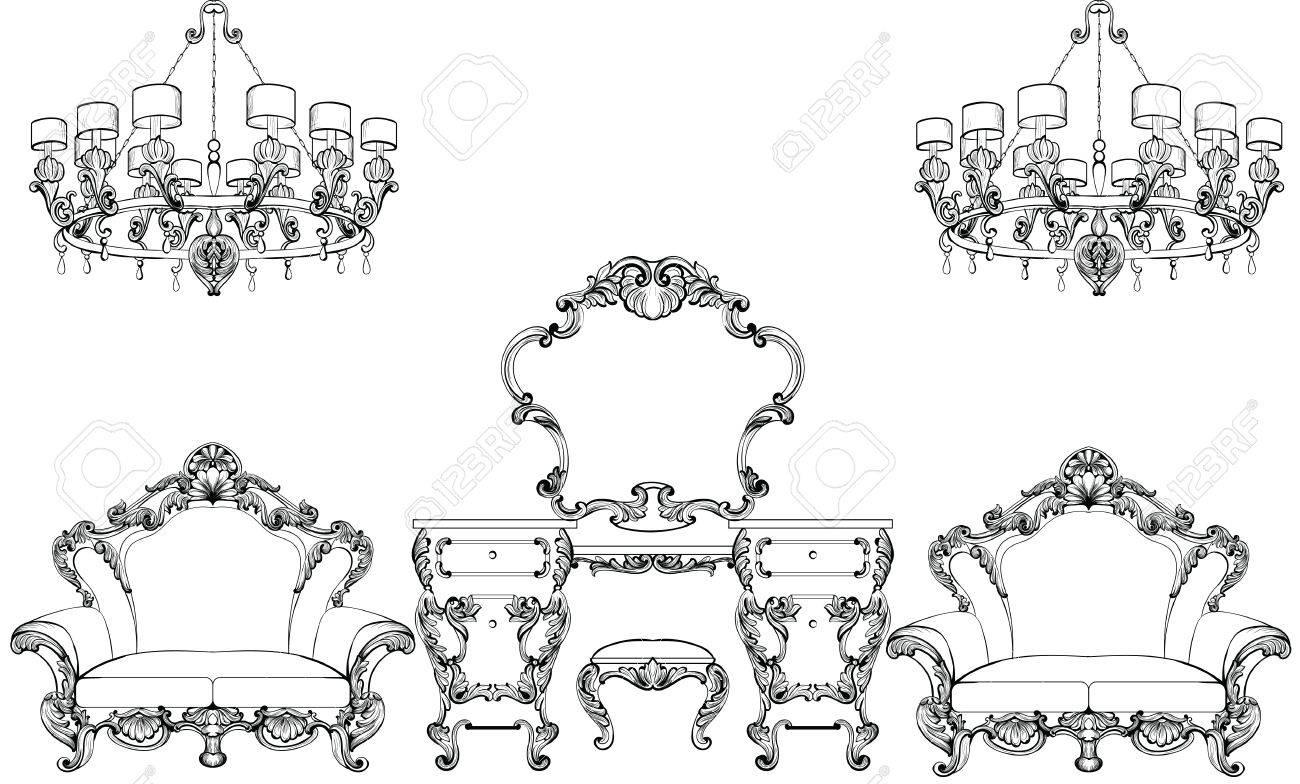 Exquisite Fabulous Imperial Baroque Möbel Und Frisiertisch Graviert ...