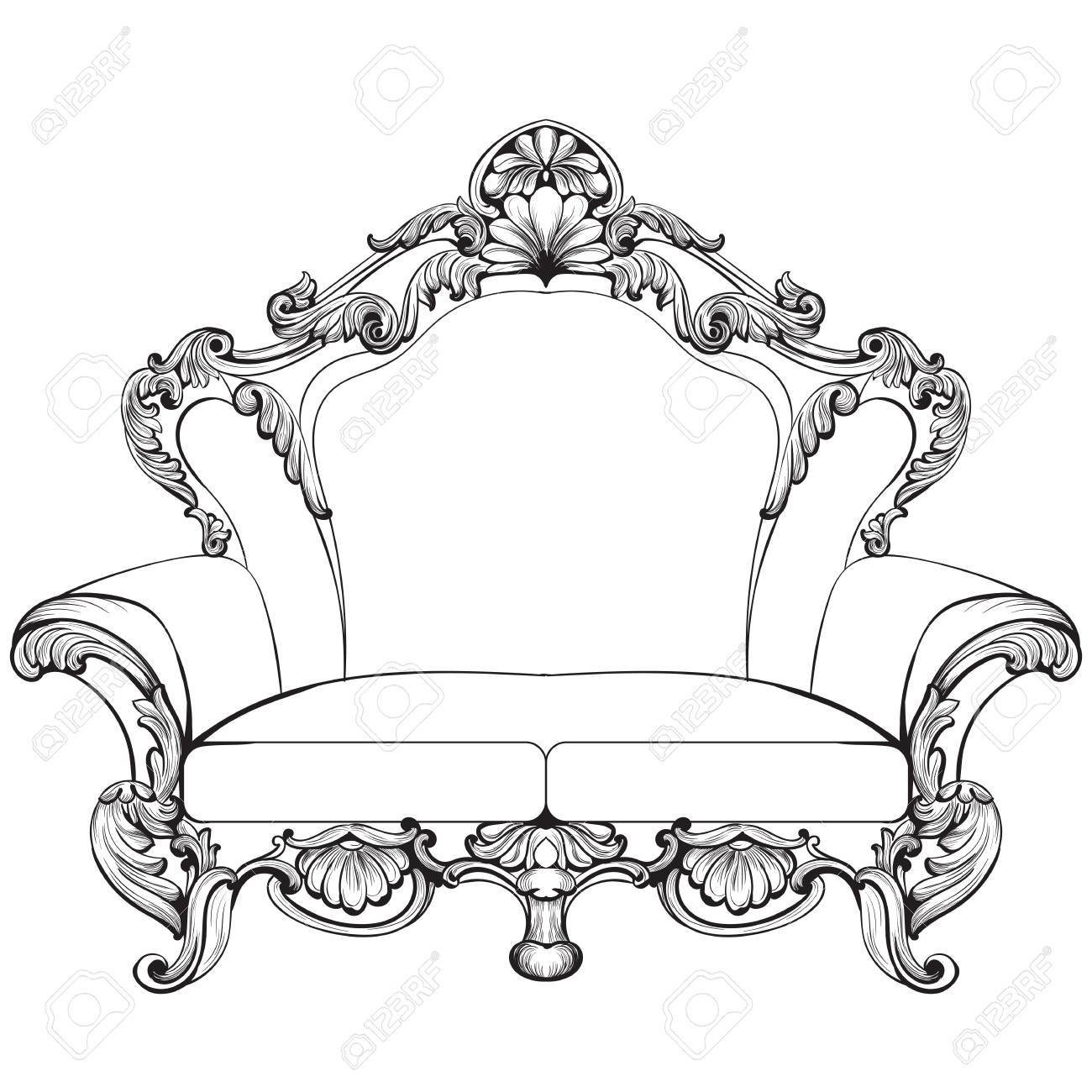 Fabulous Imperial Baroque Armchair Engraved Vector French Luxury  # Meuble Royal Decorations