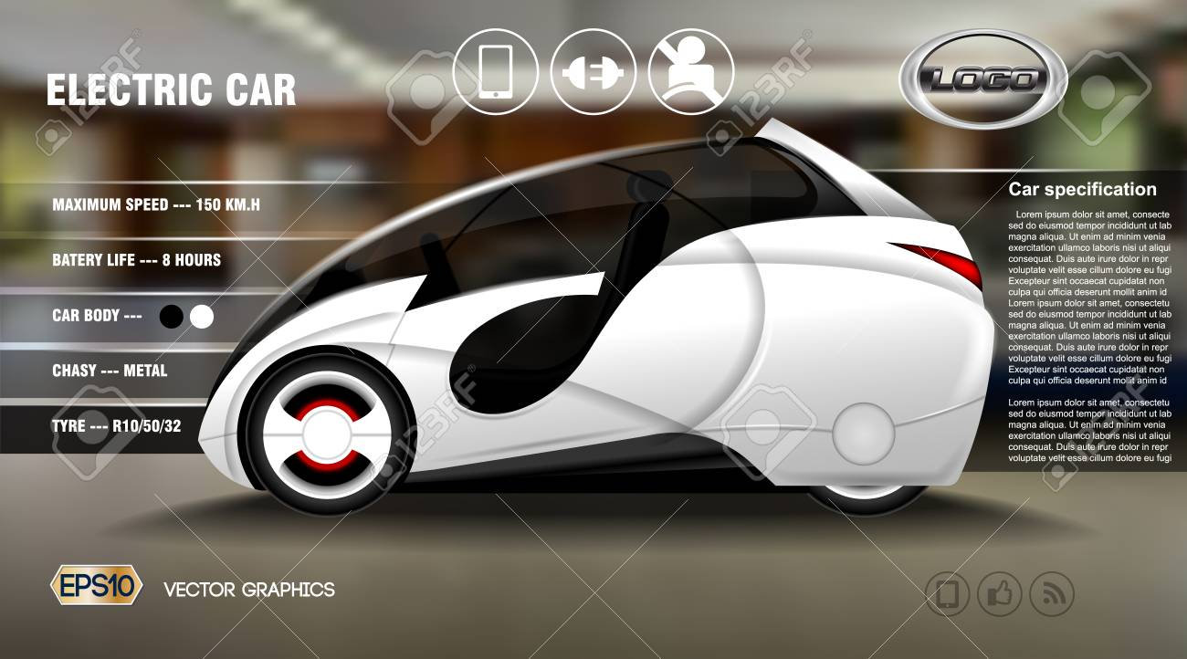 realistic 3d electric car infographic concept. digital vector