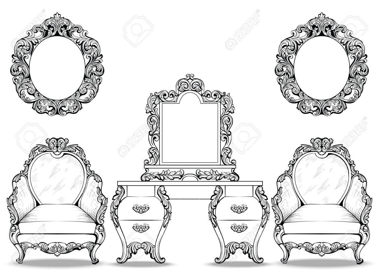 Rich Barock Rokoko Sessel Und Schminktisch Set. Französisch Luxus ...