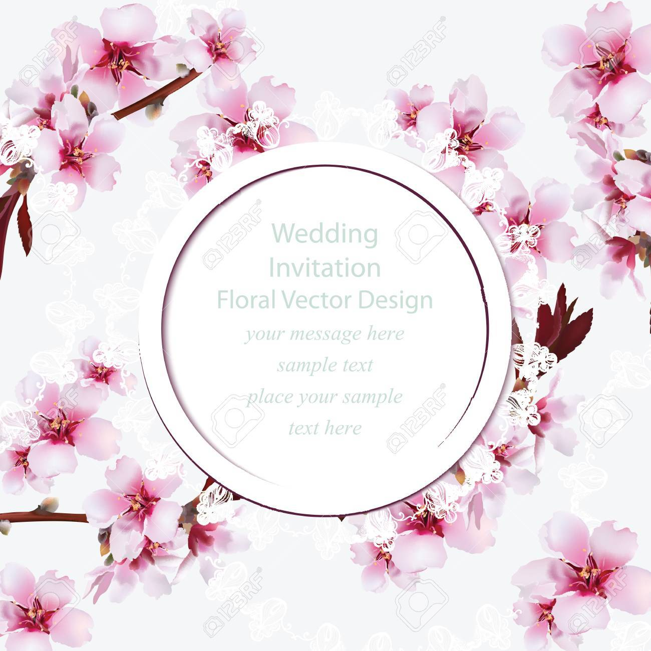 Cherry Blossom Round Card Frame. Spring Delicate Flowers Wedding ...