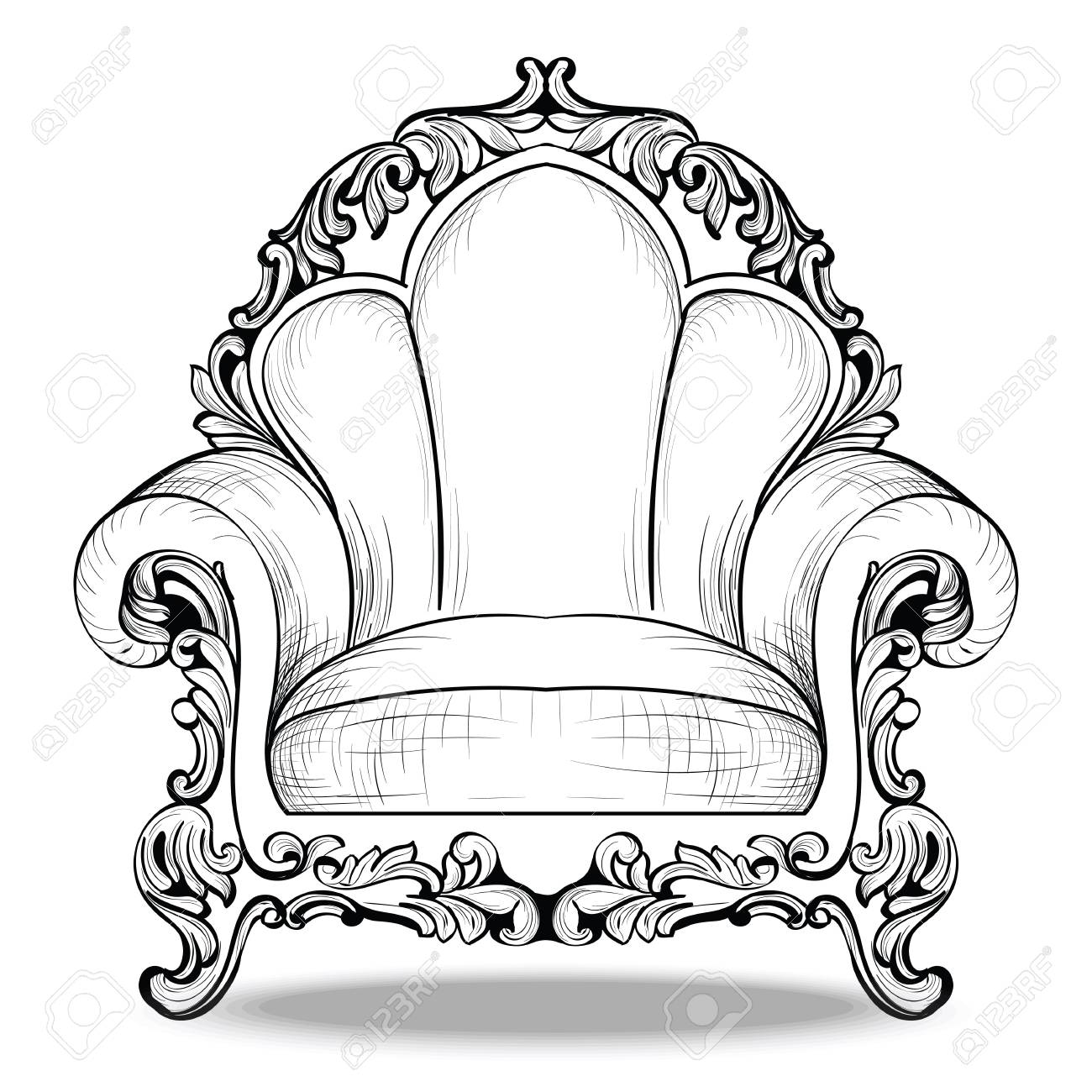 Exquisite Imperial Baroque Armchair Luxurious Ornament Vector  # Meuble Royal Decorations