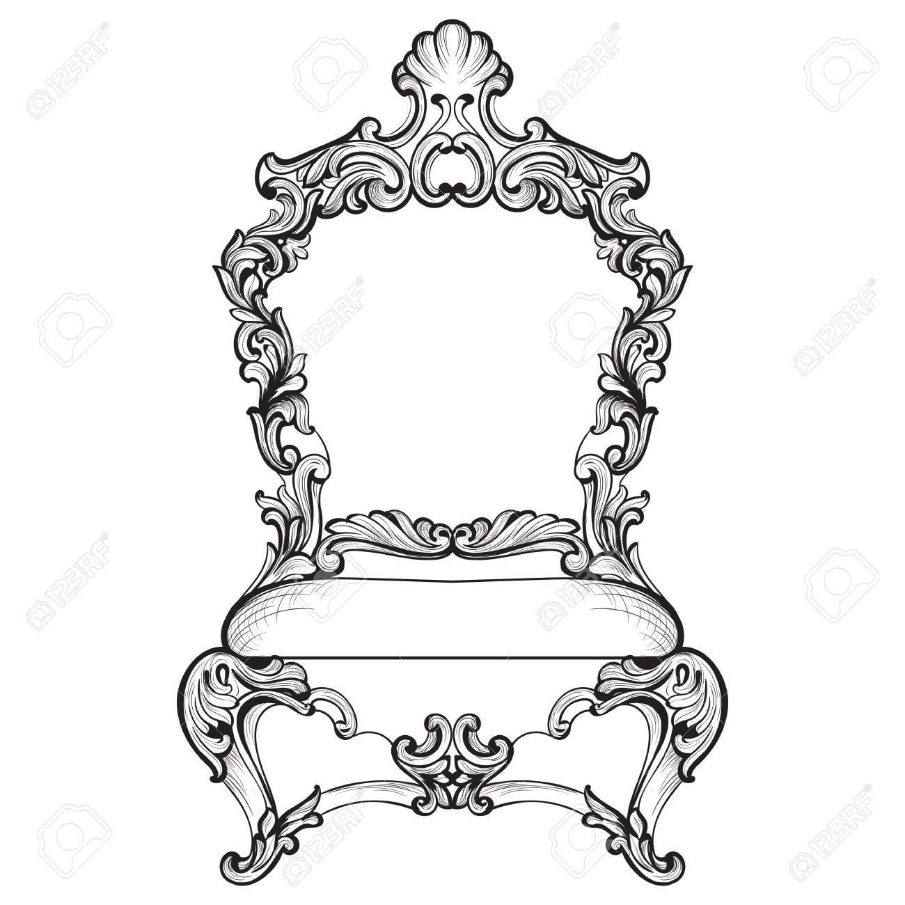 Imperial Barock Sessel In Luxuriösen Ornamenten. Vector Französisch ...