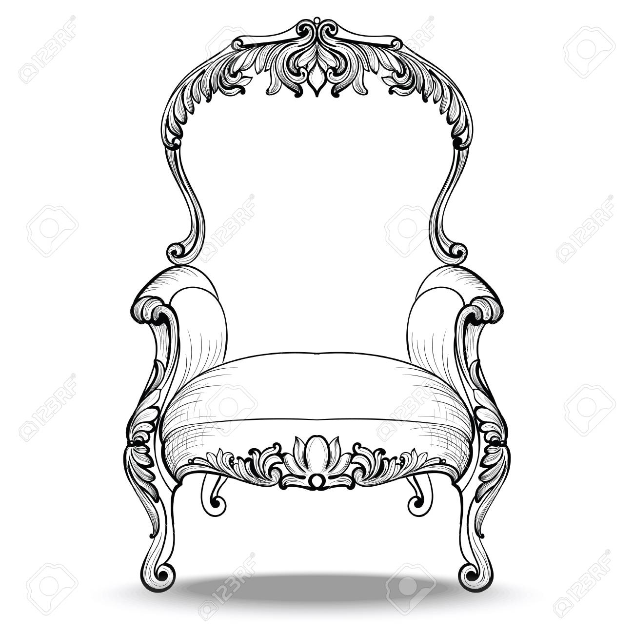 Classic Imperial Baroque Armchair With Luxurious Ornaments Vector  # Meuble Royal Decorations