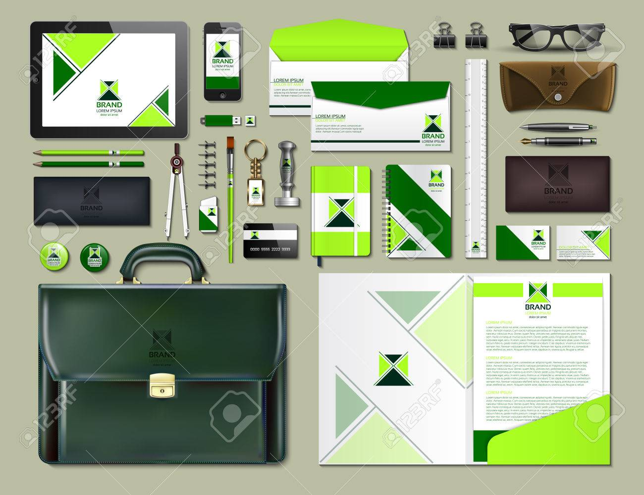 Business corporate identity items set. Vector working articles portofolio, glasses, phone, tablet, maps with brand logos. Work Stuff Stationery 3d realistic collection - 81307893